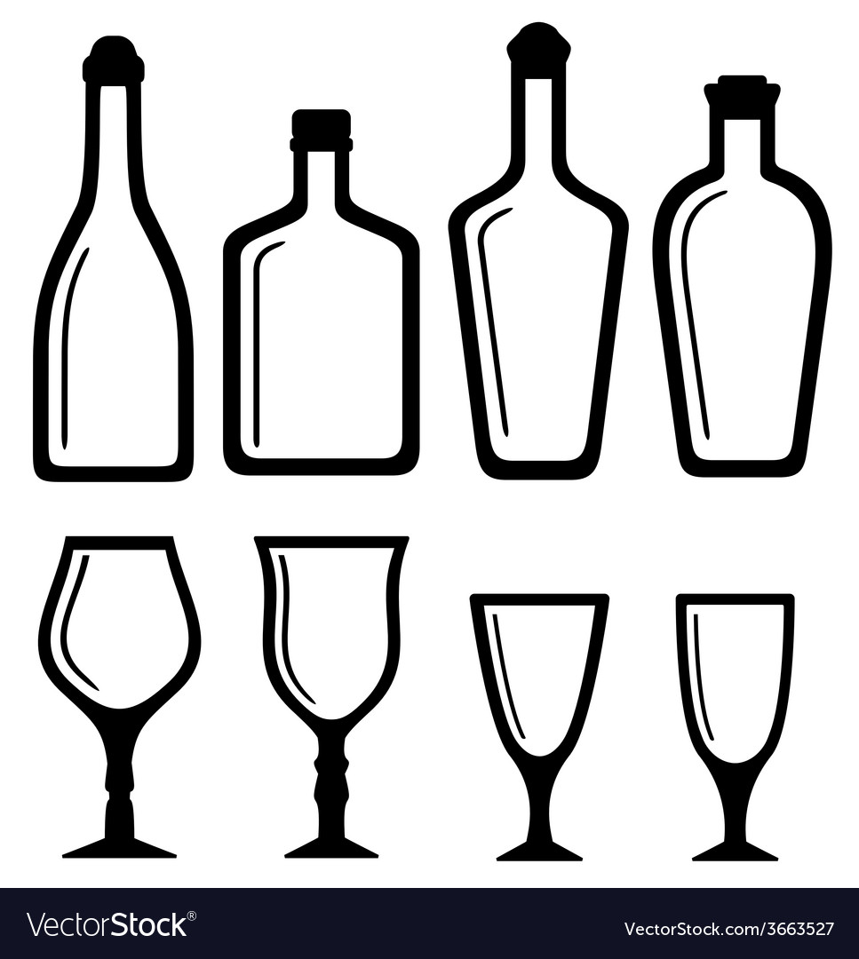 Isolated bottles and alcohol glass set vector | Price: 1 Credit (USD $1)