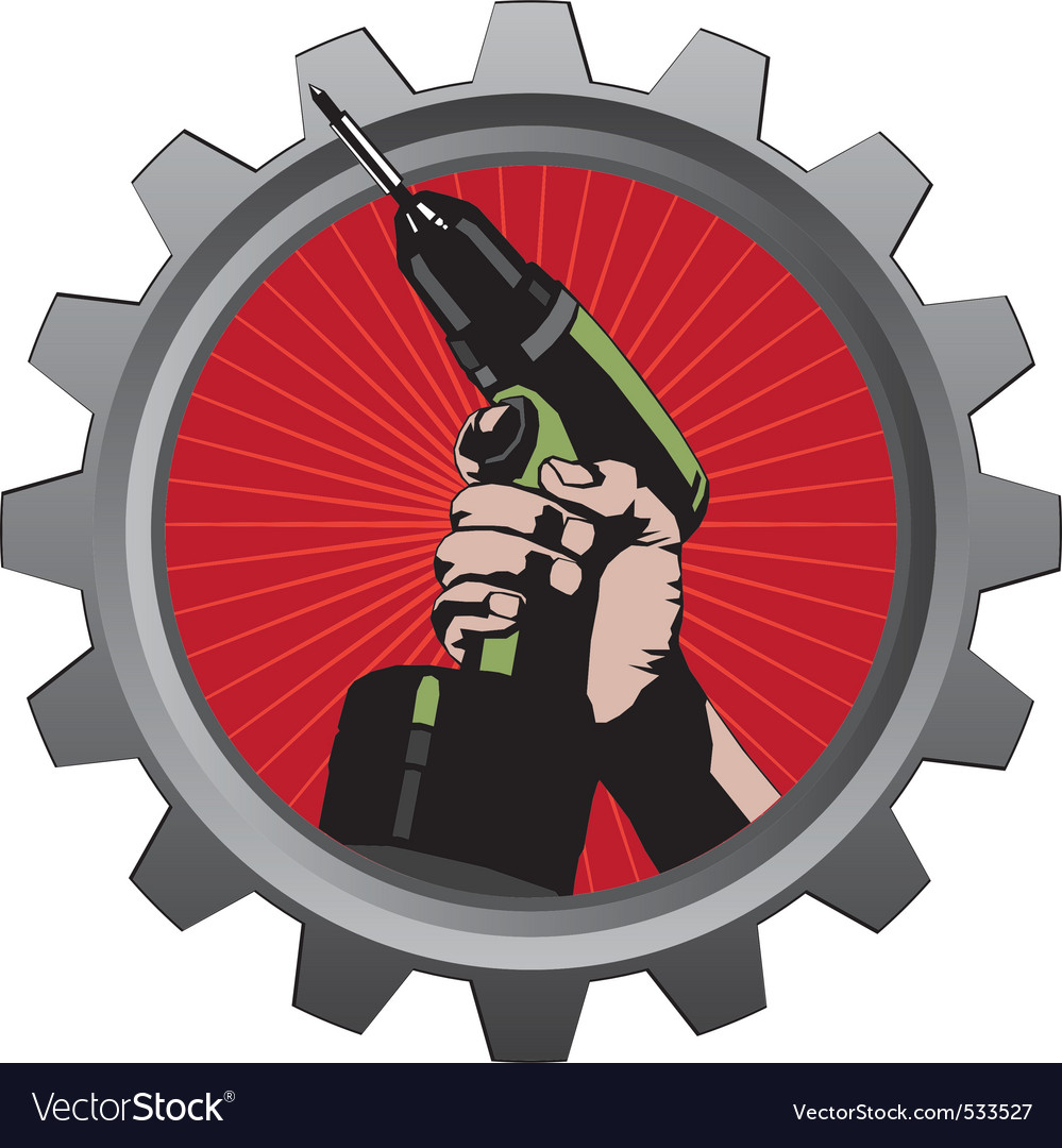 Ith drill in metal badge vector illustration vector | Price: 1 Credit (USD $1)