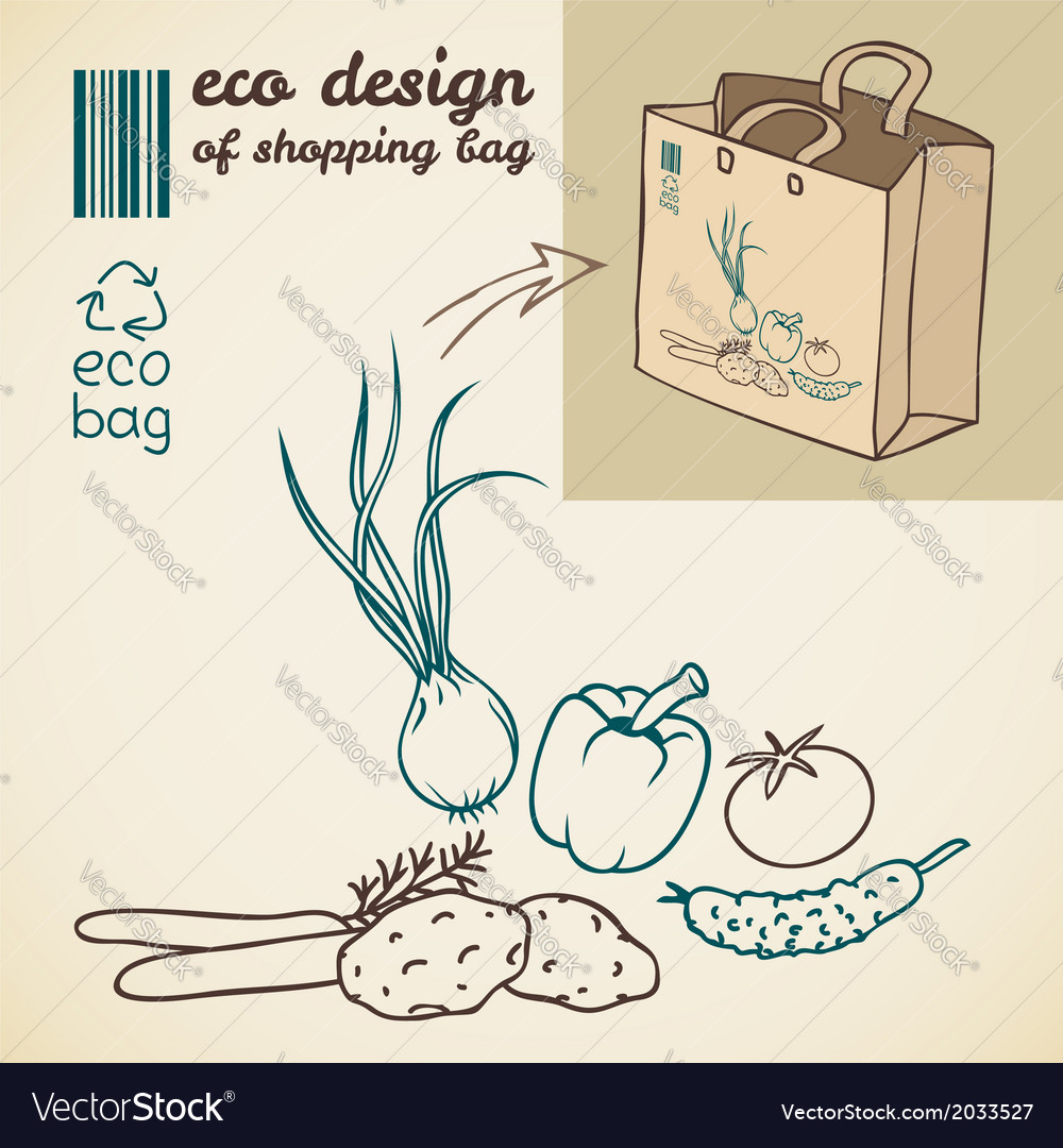 Line drawing of vegetables for printing on the bag vector | Price: 1 Credit (USD $1)