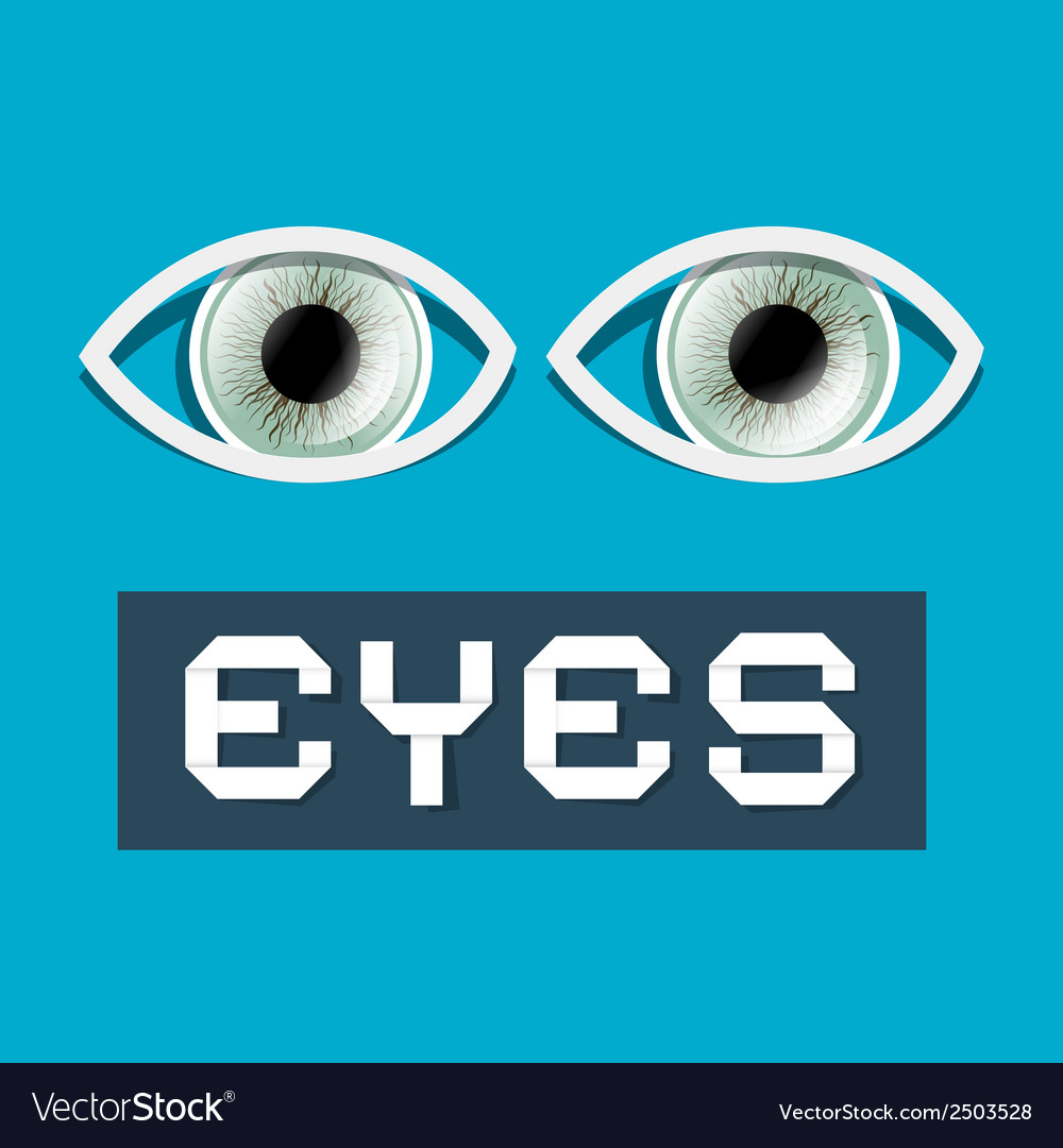Abstract paper eyes on blue background vector | Price: 1 Credit (USD $1)