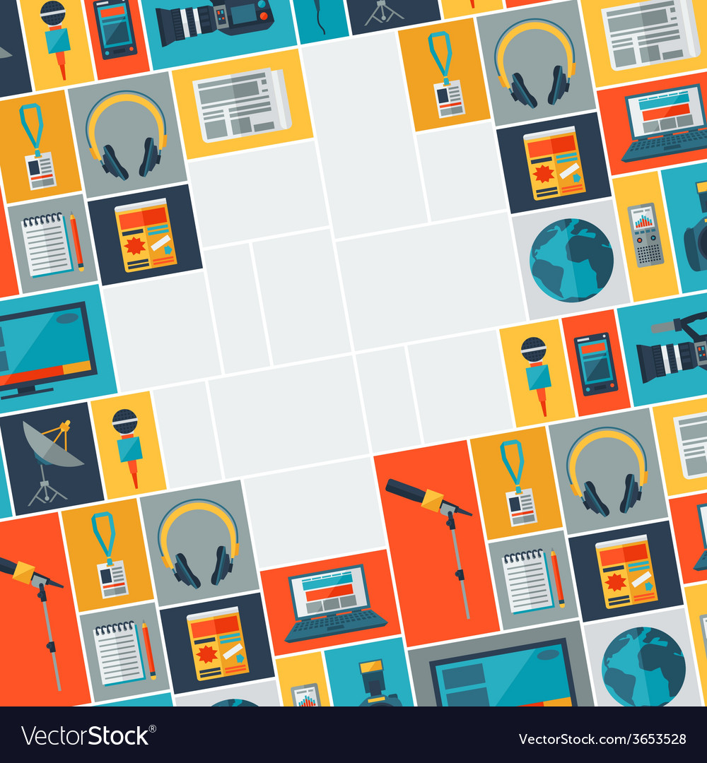 Background with journalism icons vector | Price: 1 Credit (USD $1)