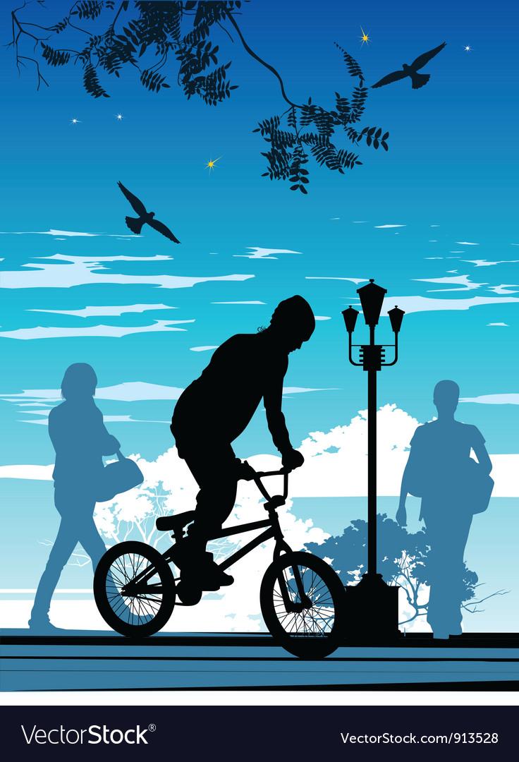 Bike riding silhouette vector | Price: 1 Credit (USD $1)