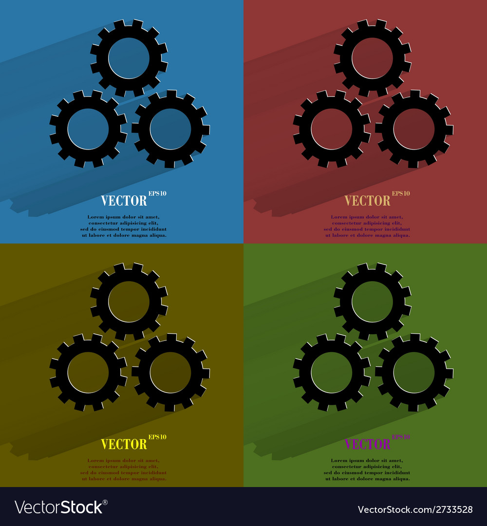 Color set settings sign web icon flat design vector | Price: 1 Credit (USD $1)