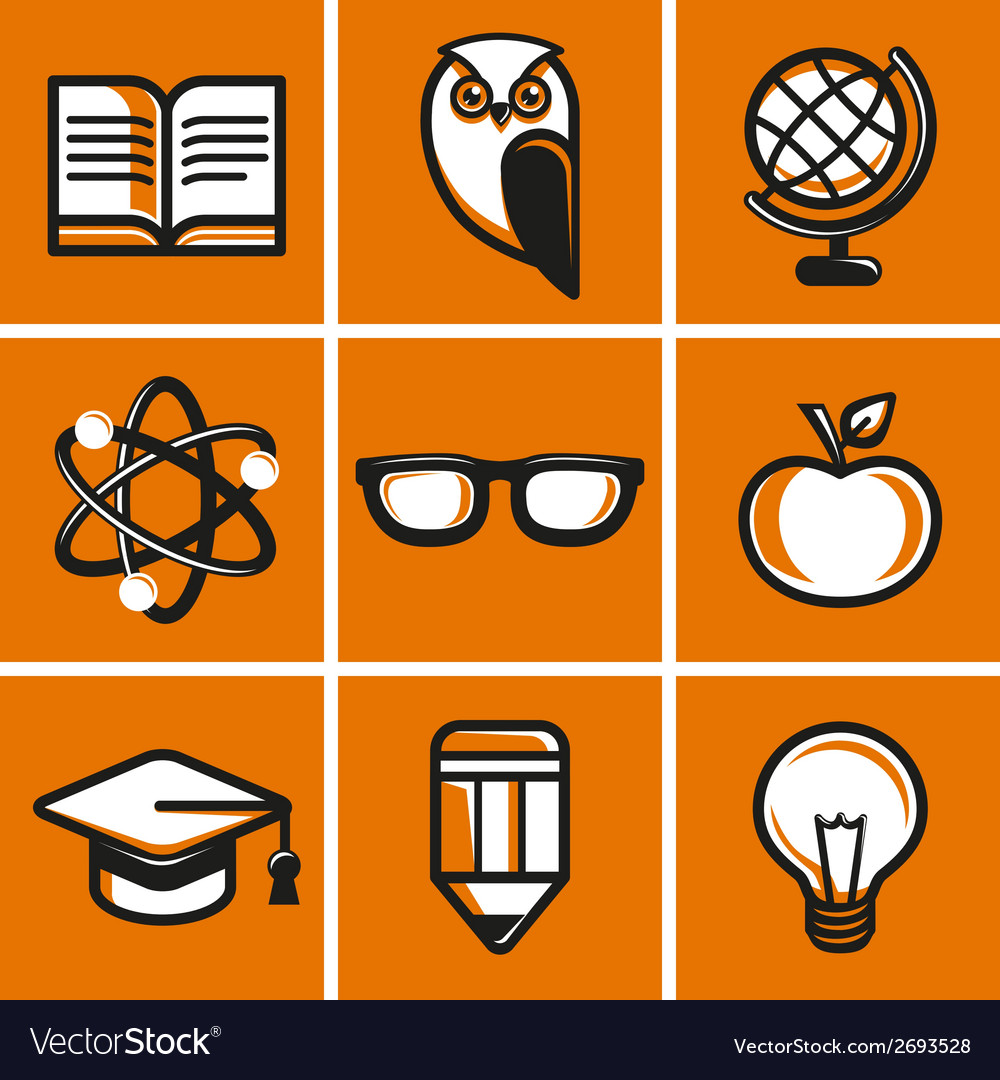 Education concepts in flat outline style vector | Price: 1 Credit (USD $1)