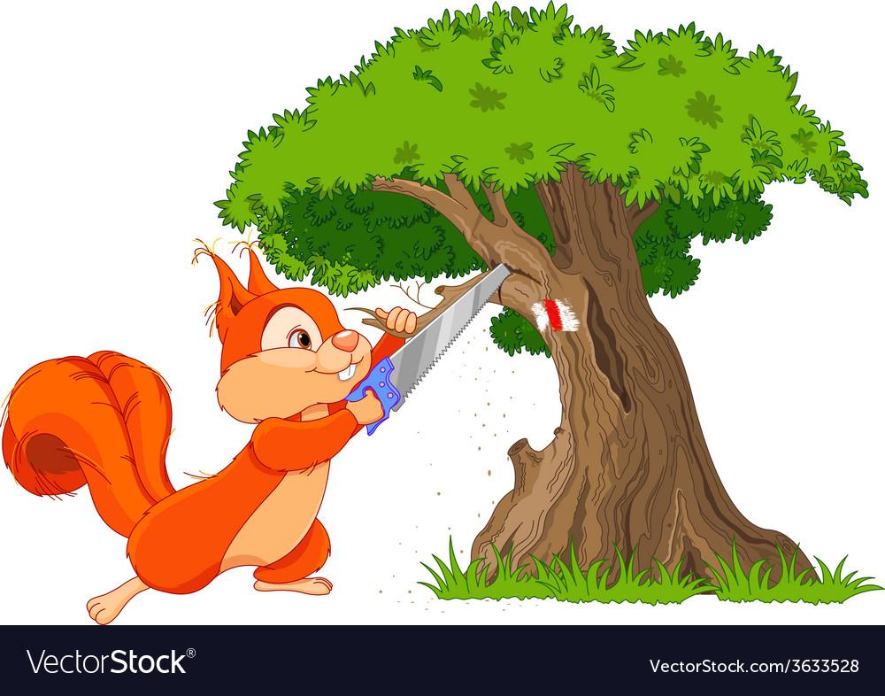 Funny squirrel saws branch vector | Price: 3 Credit (USD $3)