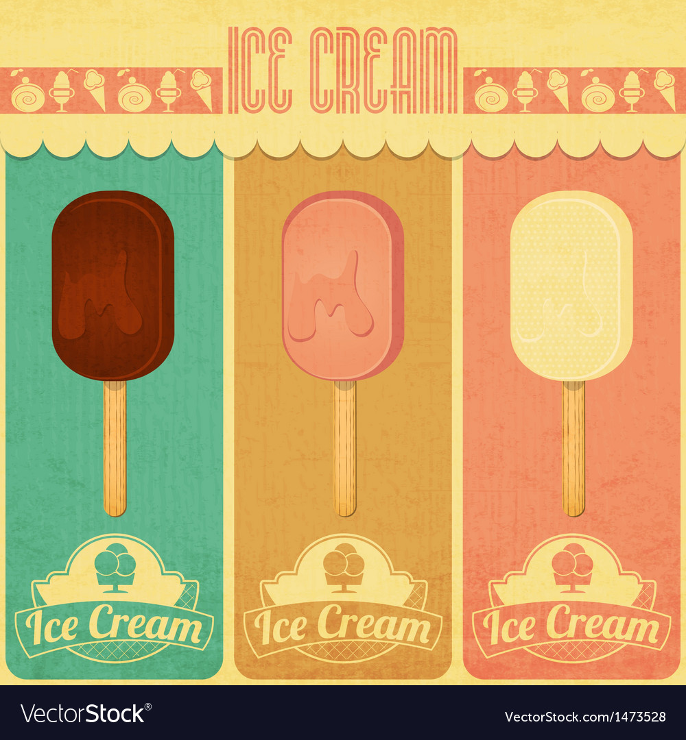 Ice cream dessert vintage menu vector | Price: 1 Credit (USD $1)