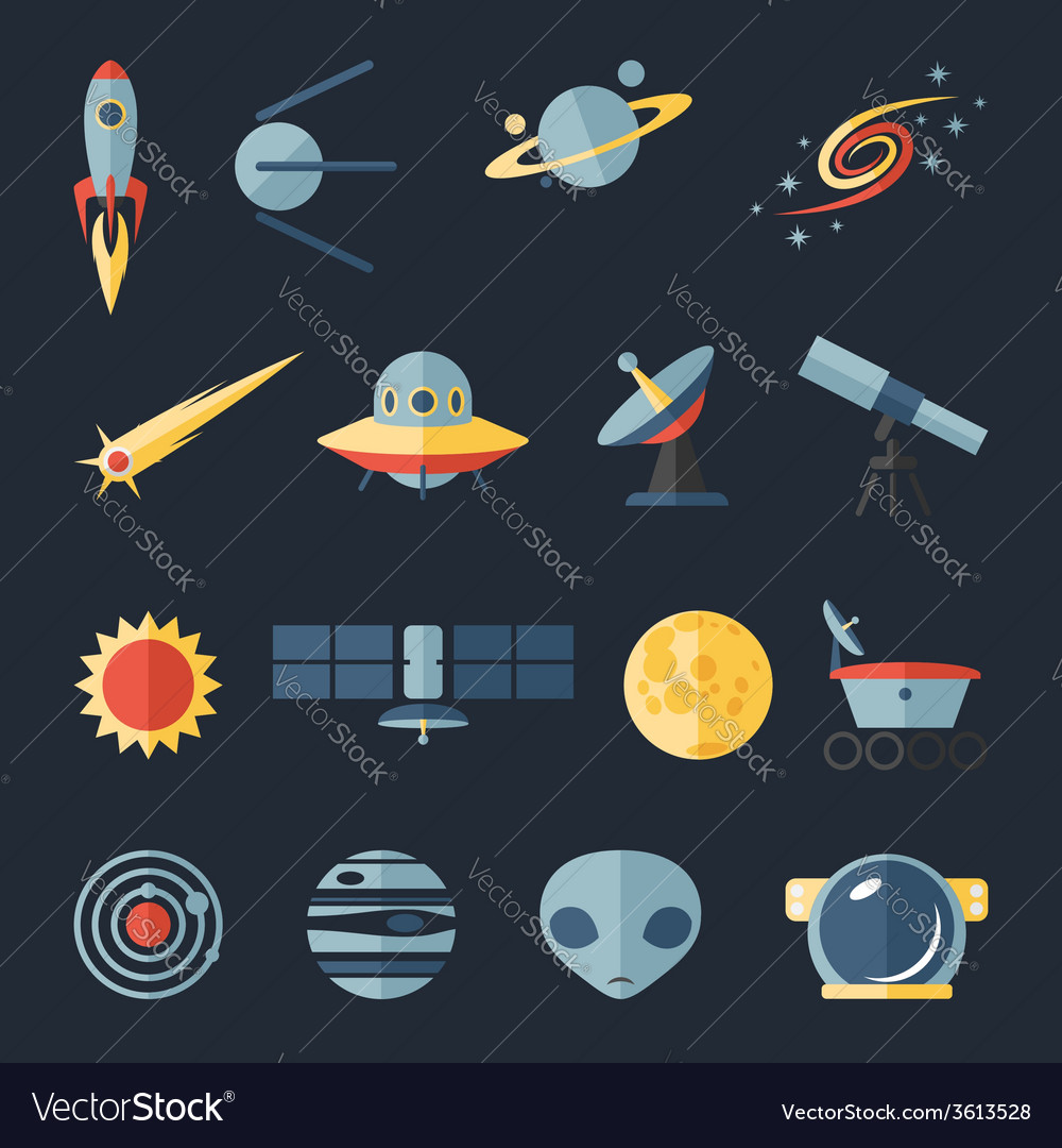 Space flat icons set vector   Price: 1 Credit (USD $1)