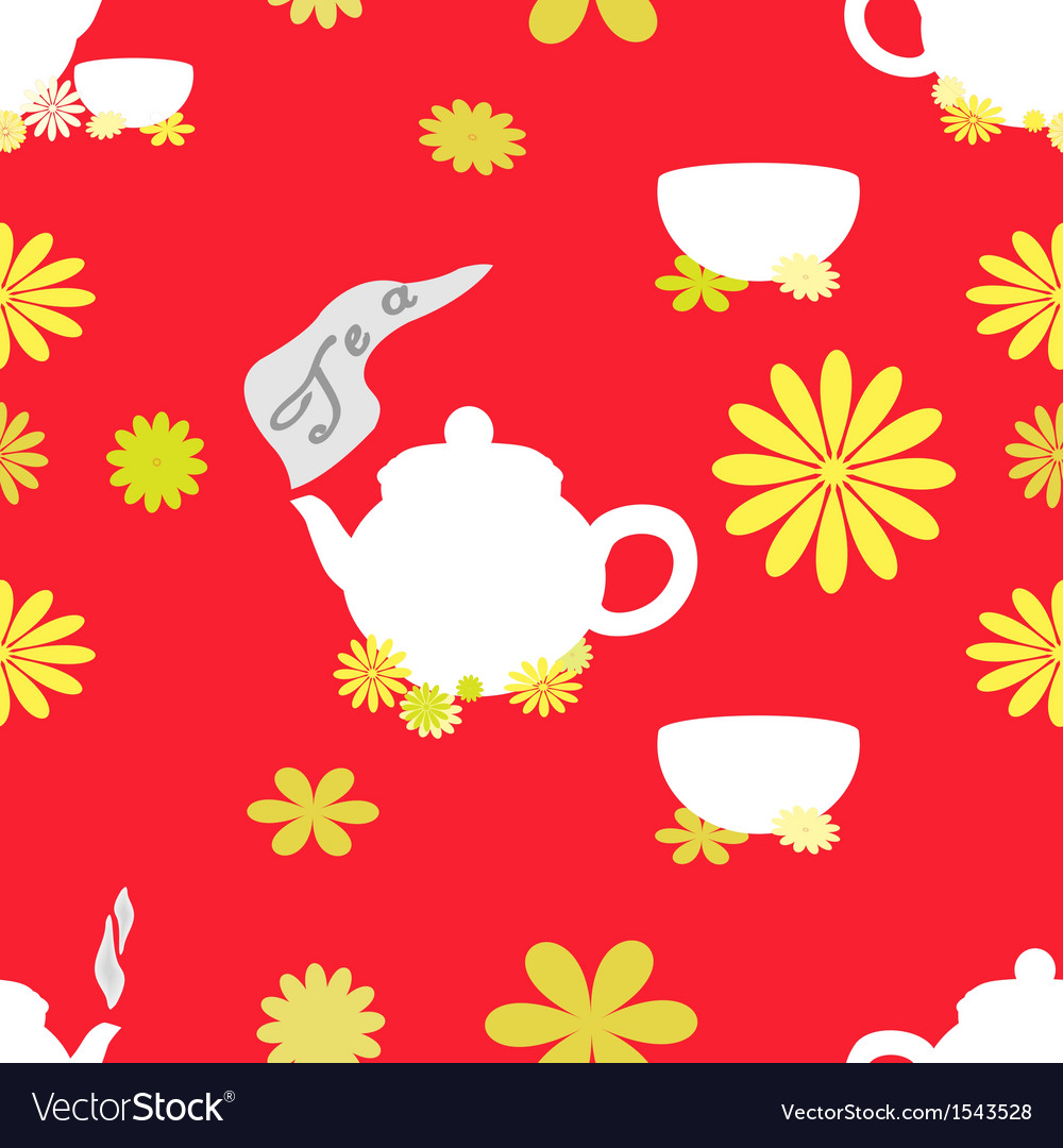 Tea seamless pattern of red tint vector | Price: 1 Credit (USD $1)