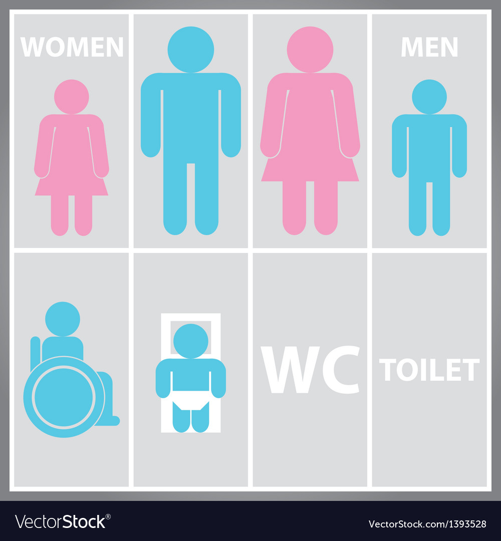 Toilet sign with toilet men and women wc vector | Price: 1 Credit (USD $1)