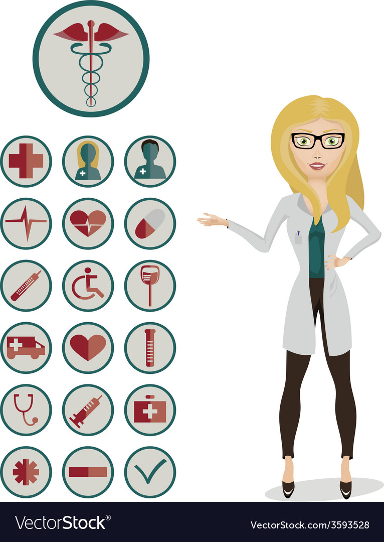 Woman doctor with medical icons vector | Price: 1 Credit (USD $1)