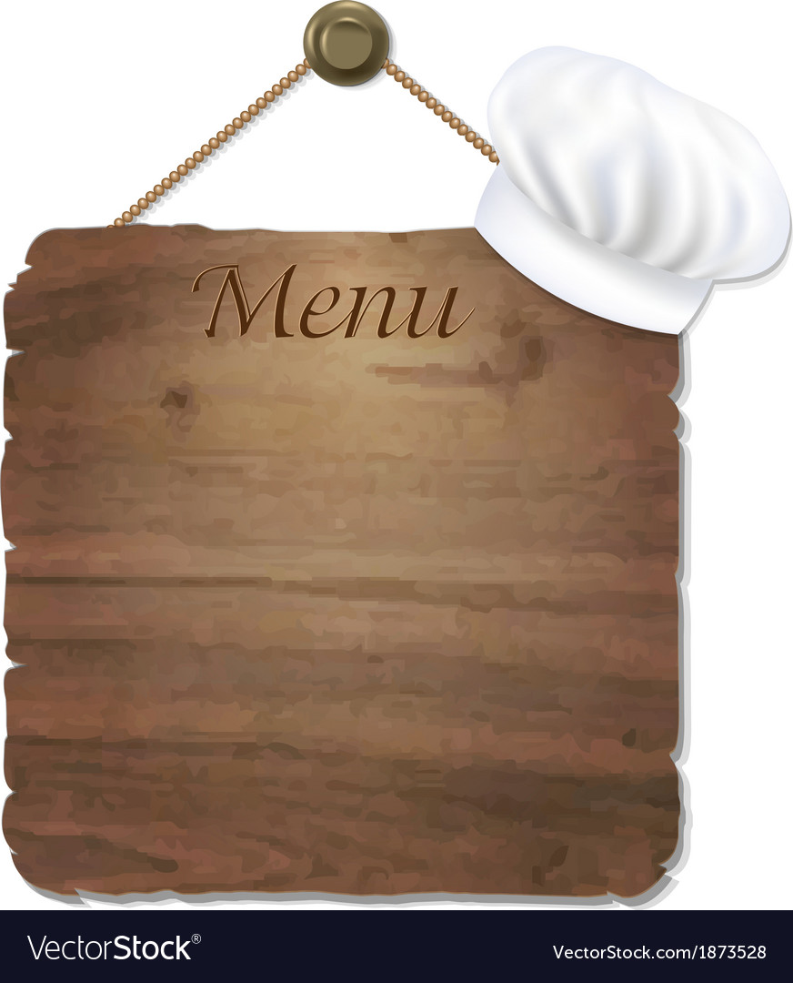 Wooden sing with cook cap vector   Price: 1 Credit (USD $1)