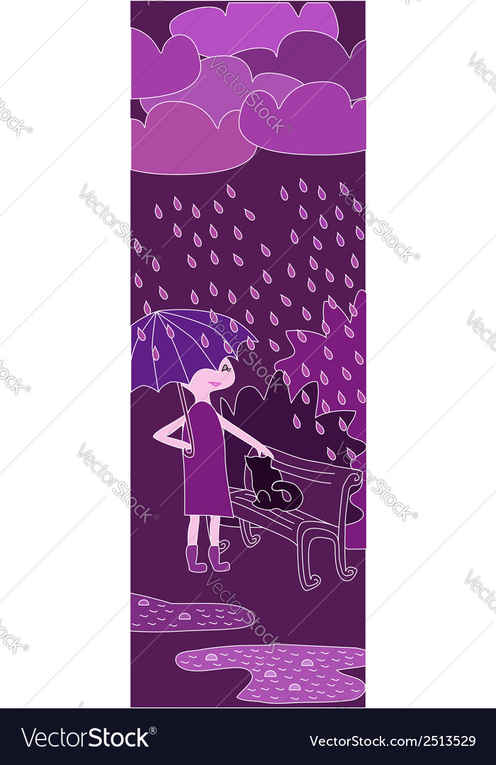 Cartoon girl walking in the rain in purple colors vector | Price: 1 Credit (USD $1)
