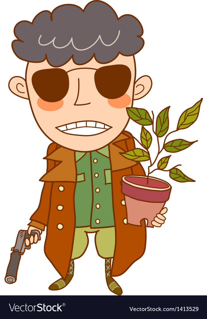 Close-up boy holding pot and gun vector | Price: 3 Credit (USD $3)