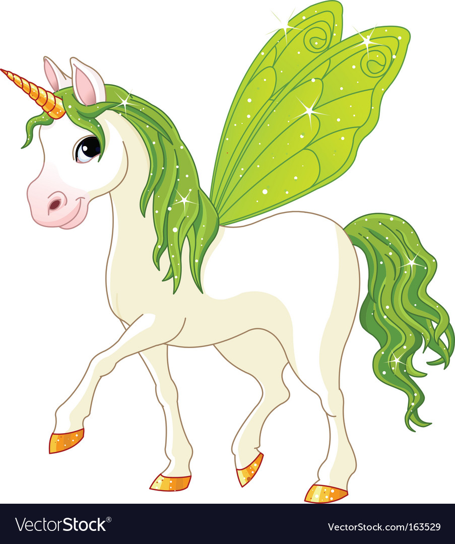 Fairy tail green horse vector | Price: 3 Credit (USD $3)