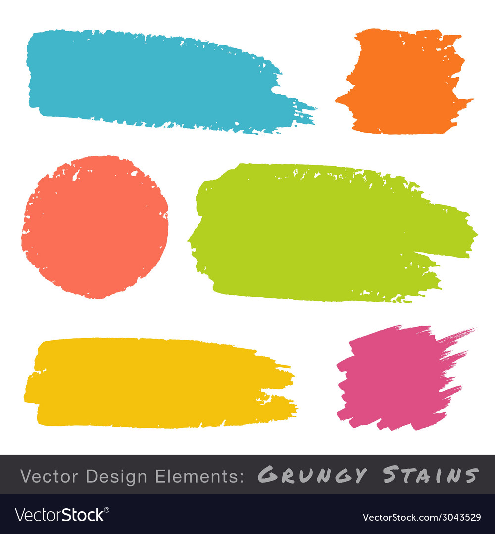 Set of hand drawn flat grunge stains vector | Price: 1 Credit (USD $1)