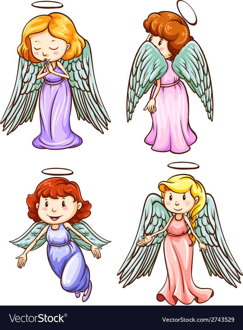 Simple sketches of angels vector | Price: 1 Credit (USD $1)