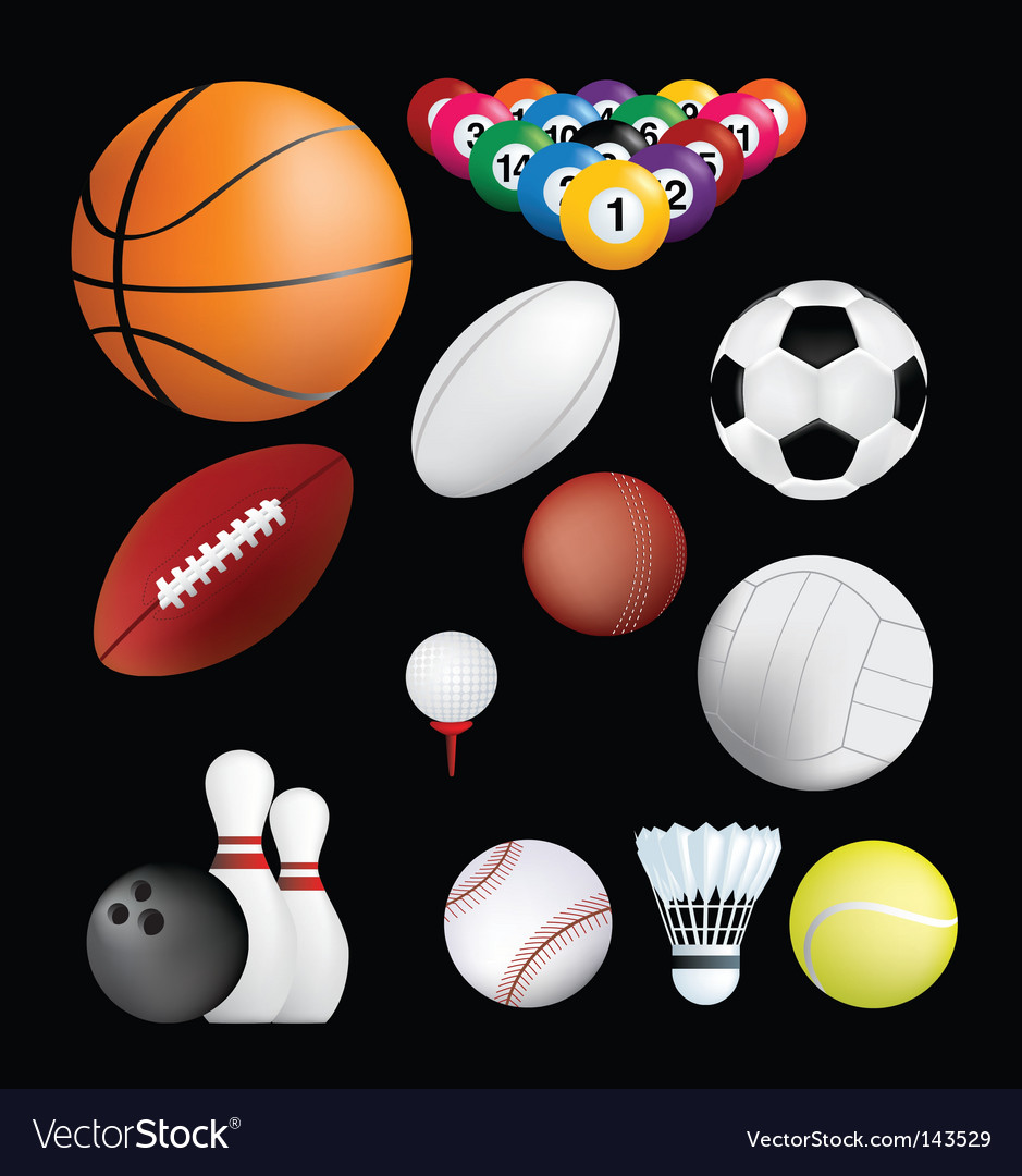 Sports balls on black vector | Price: 1 Credit (USD $1)