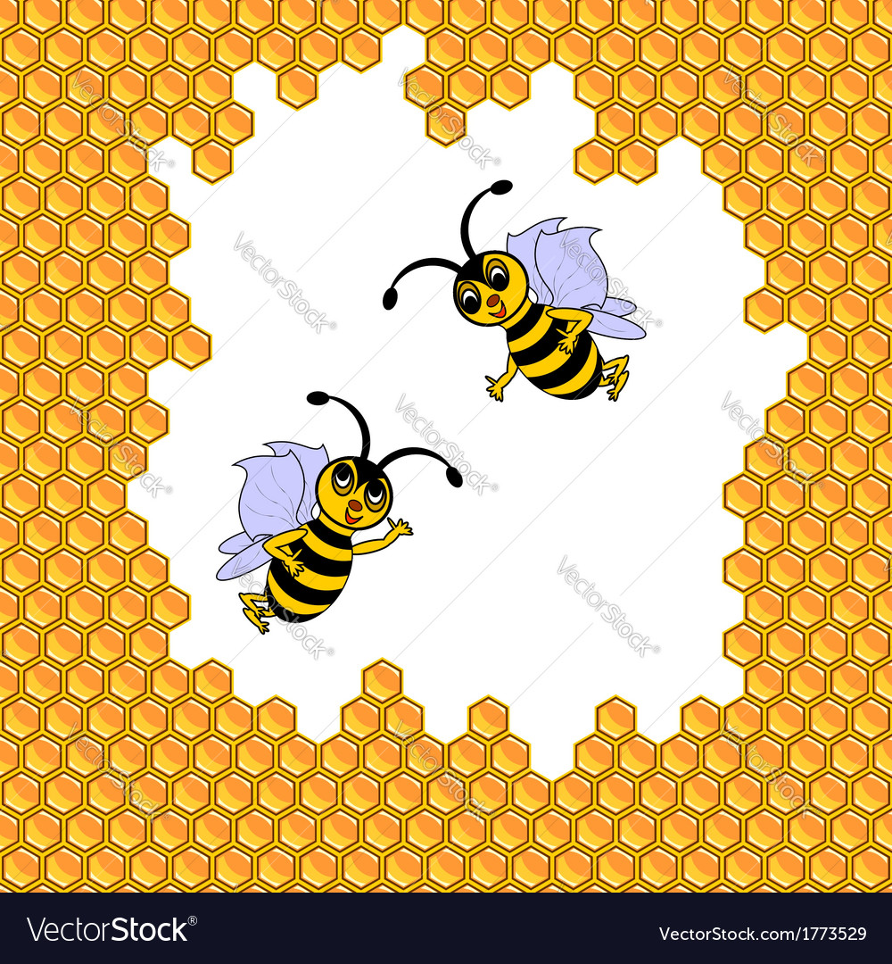 Two funny cartoon bees surrounded by honeycombs vector | Price: 1 Credit (USD $1)
