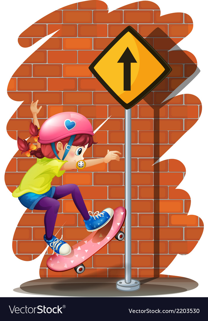 A girl skateboarding near the signboard vector | Price: 3 Credit (USD $3)