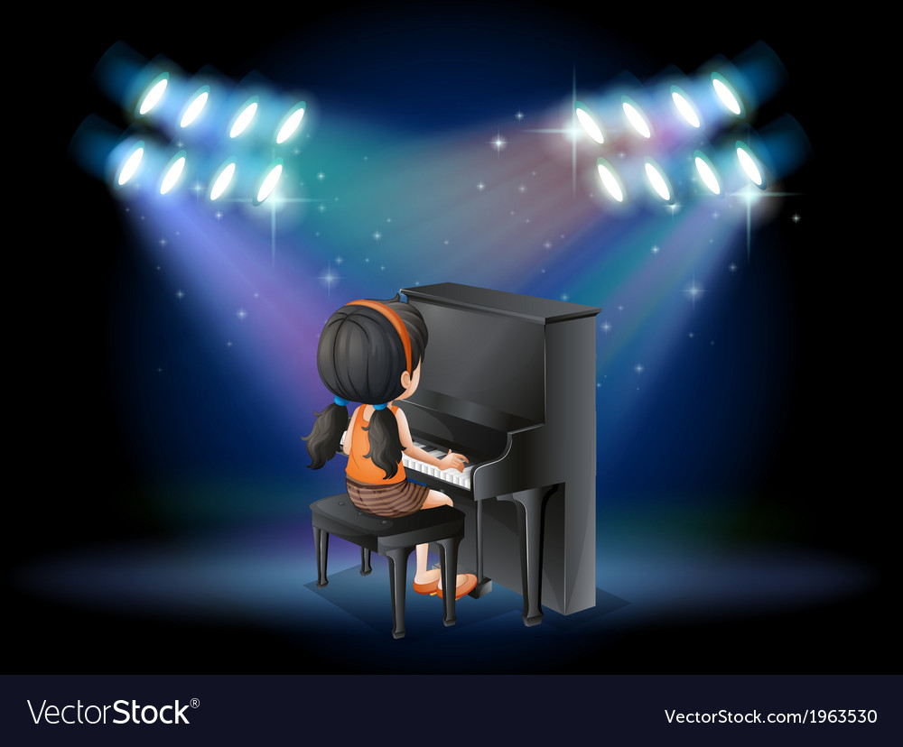 A stage with a young pianist performing vector | Price: 3 Credit (USD $3)