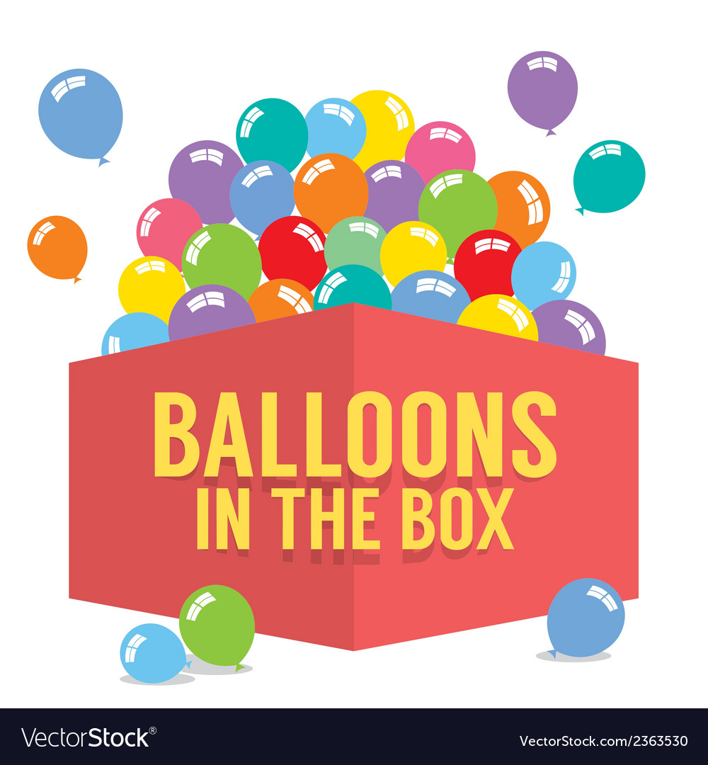 Balloons in the box vector | Price: 1 Credit (USD $1)