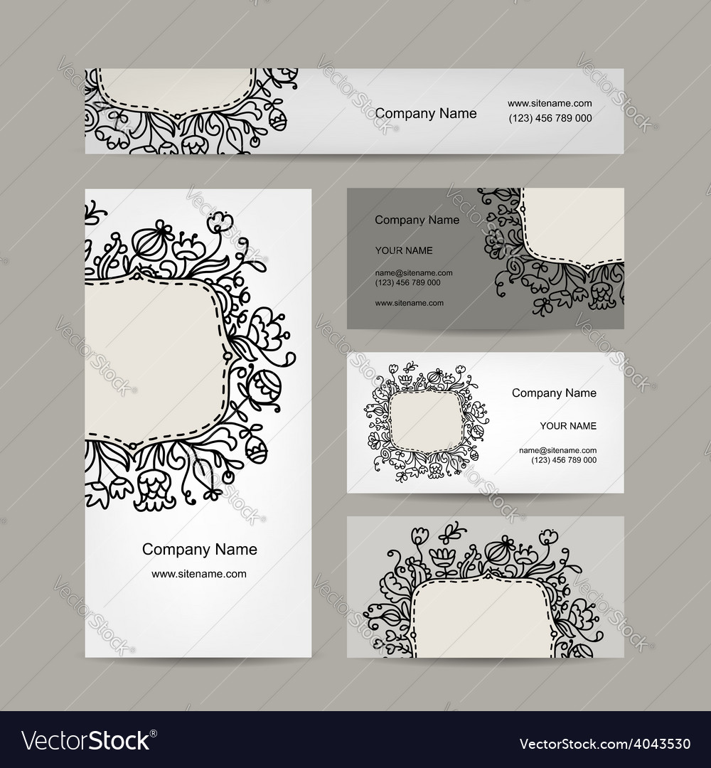 Business cards design floral ornament vector