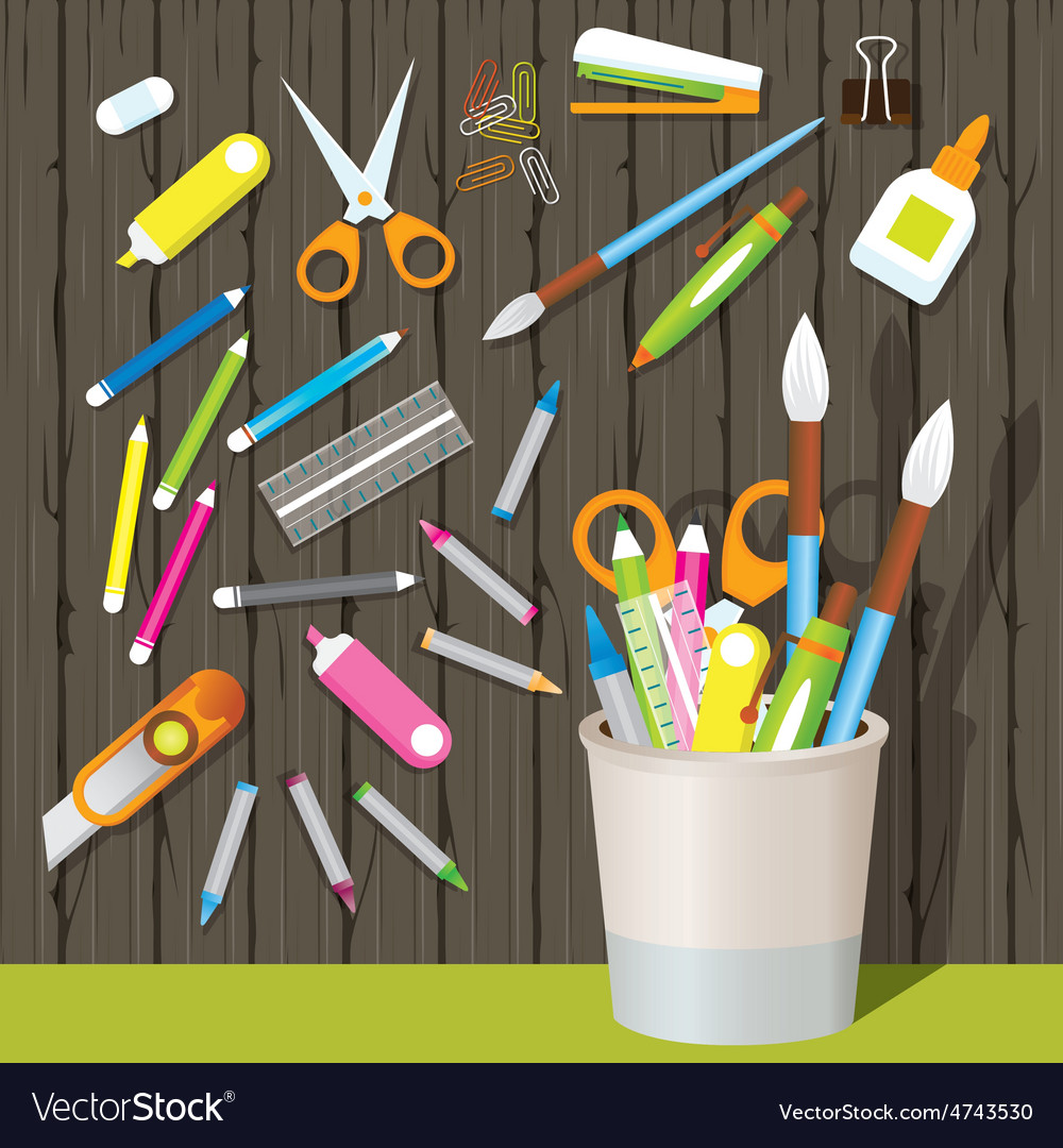 Can holder with office supplies and stationery vector