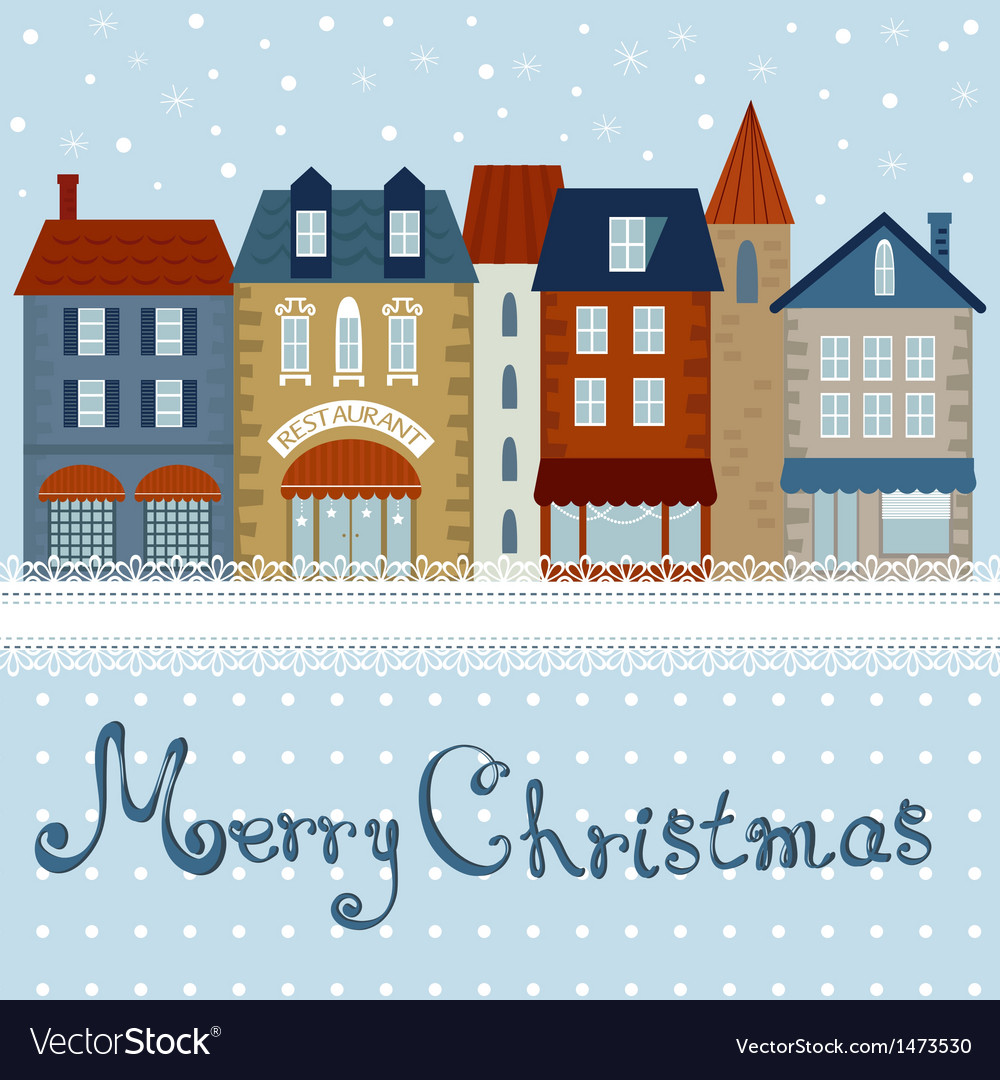 Christmas card houses vector | Price: 1 Credit (USD $1)