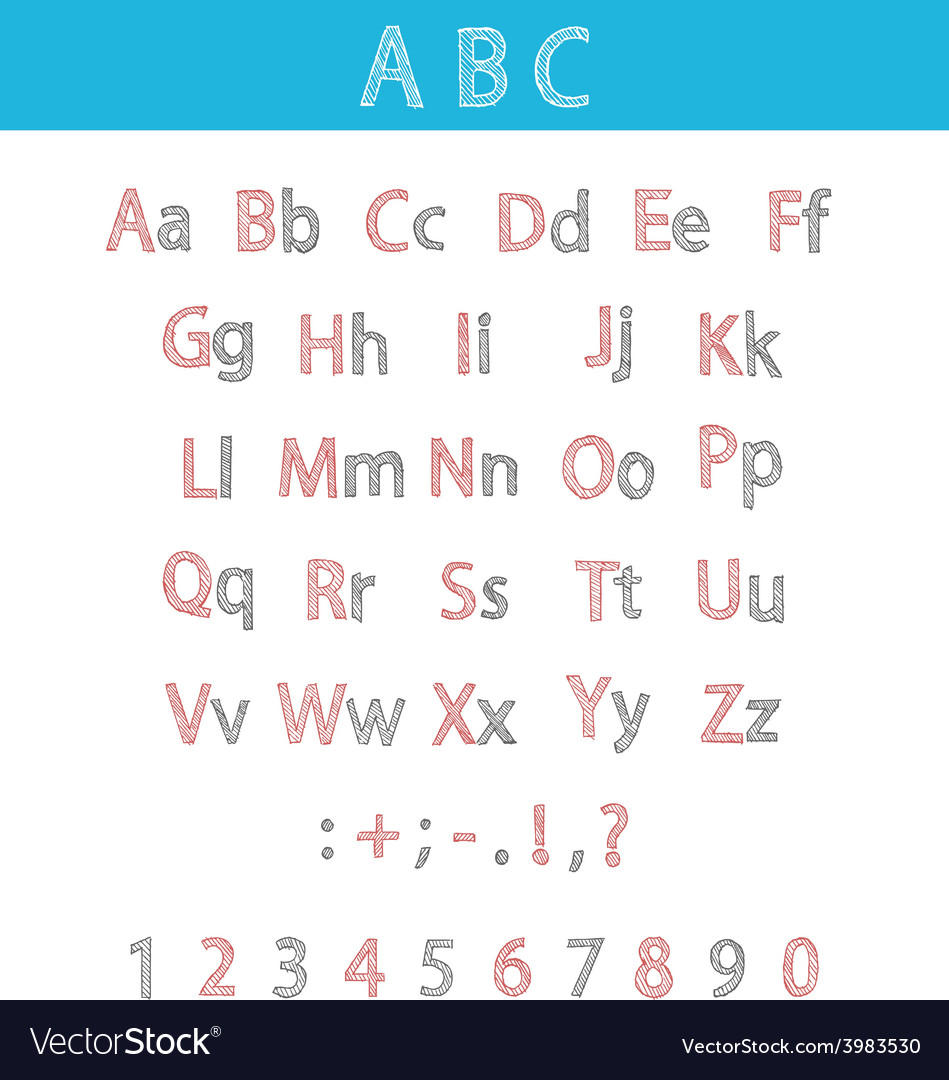Classic hand drawn alphabet abc for your design vector | Price: 1 Credit (USD $1)