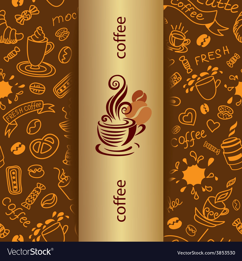 Coffee doodle background vector | Price: 1 Credit (USD $1)