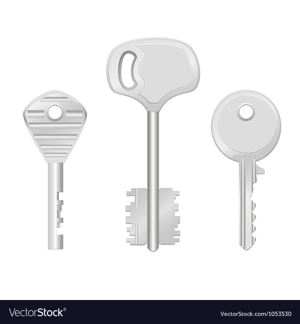 Door keys isolated on white background vector | Price: 1 Credit (USD $1)