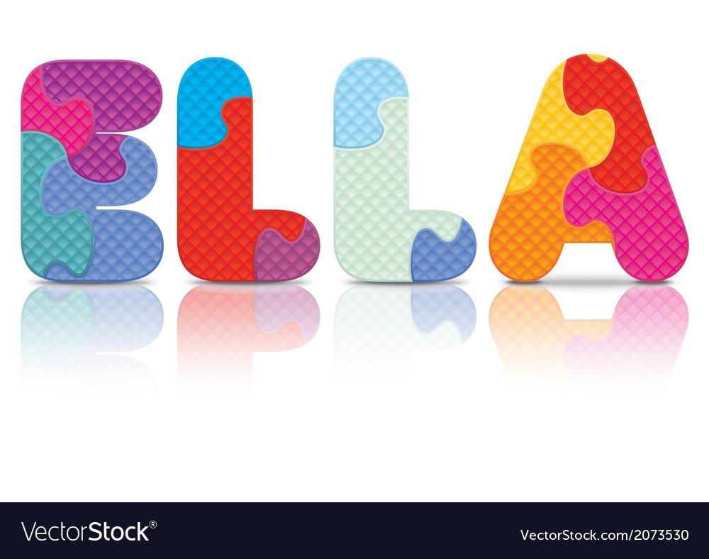 Ella written with alphabet puzzle vector | Price: 1 Credit (USD $1)