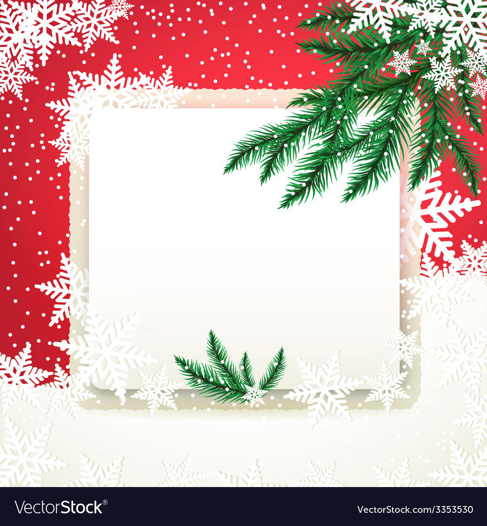 Frame on the snowdrift and fir tree branches vector | Price: 1 Credit (USD $1)