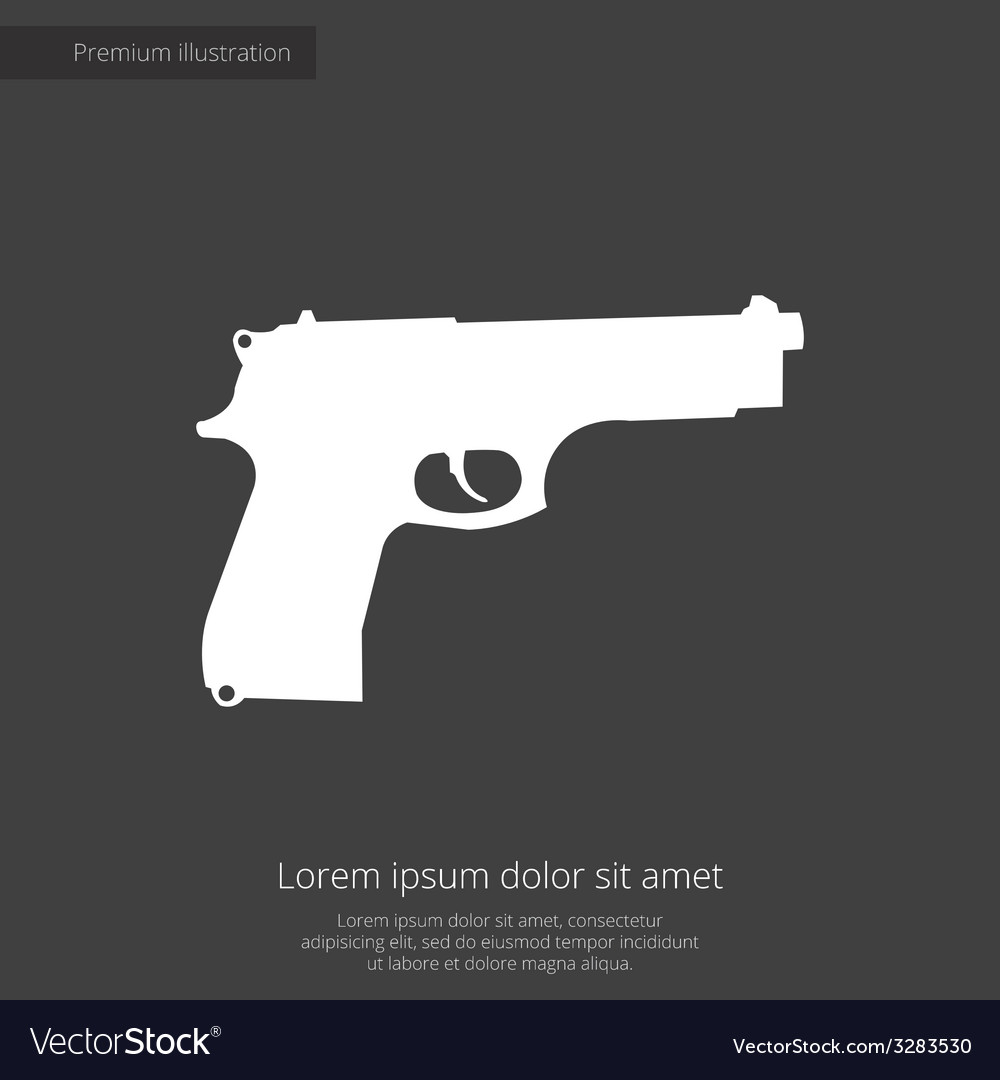 Gun premium icon white on dark background vector | Price: 1 Credit (USD $1)