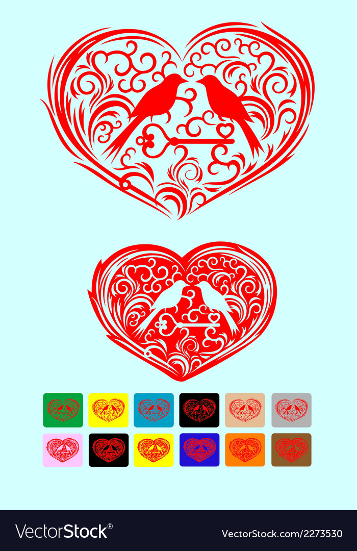 Heart love ornate with couple bird art vector | Price: 1 Credit (USD $1)