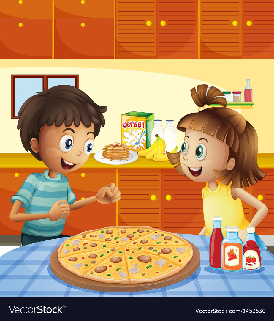Kids at the kitchen with a whole pizza at the vector | Price: 1 Credit (USD $1)