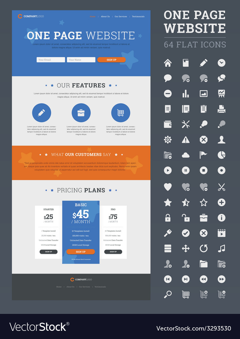 One page website design template vector | Price: 1 Credit (USD $1)