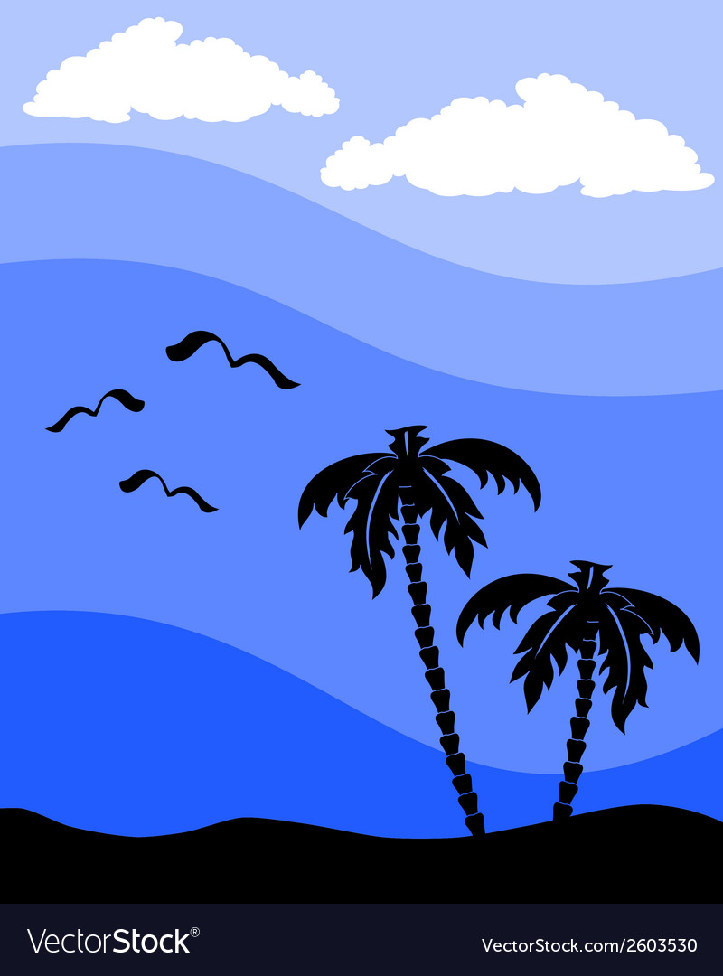Palm tree silhouette vector | Price: 1 Credit (USD $1)