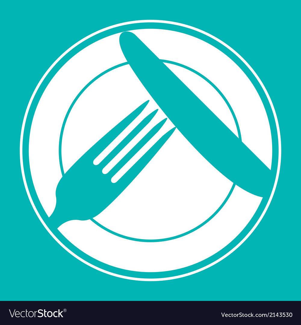 Plate knife and fork restaurant menu design vector | Price: 1 Credit (USD $1)