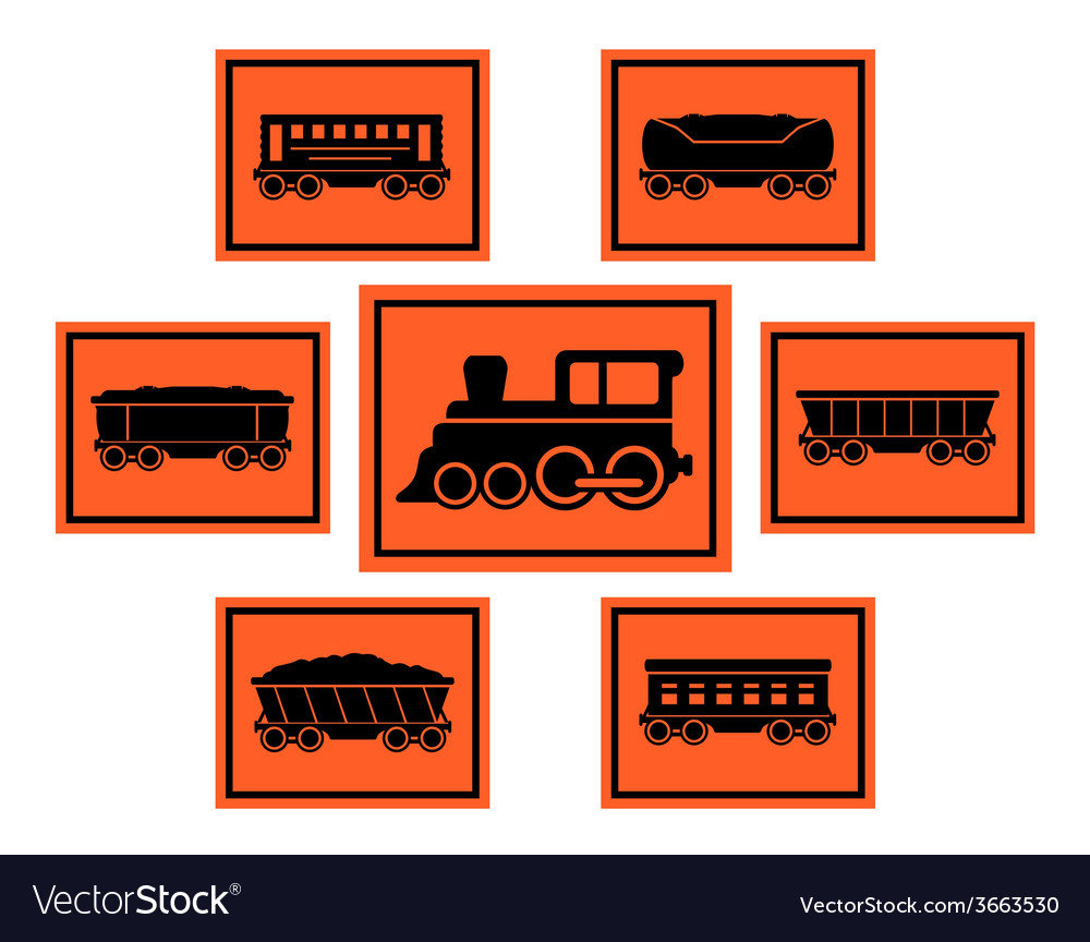 Red rail road icons set vector | Price: 1 Credit (USD $1)
