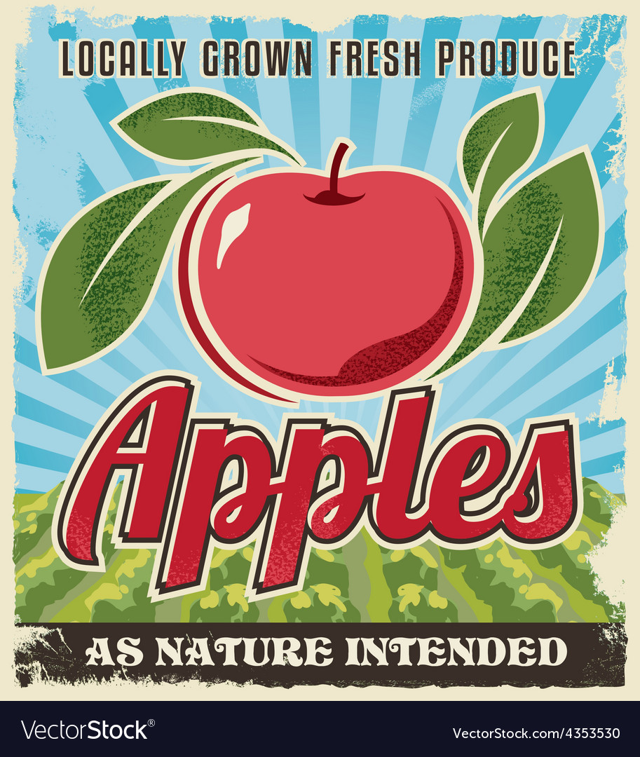 Retro vintage apple crate label vector | Price: 1 Credit (USD $1)