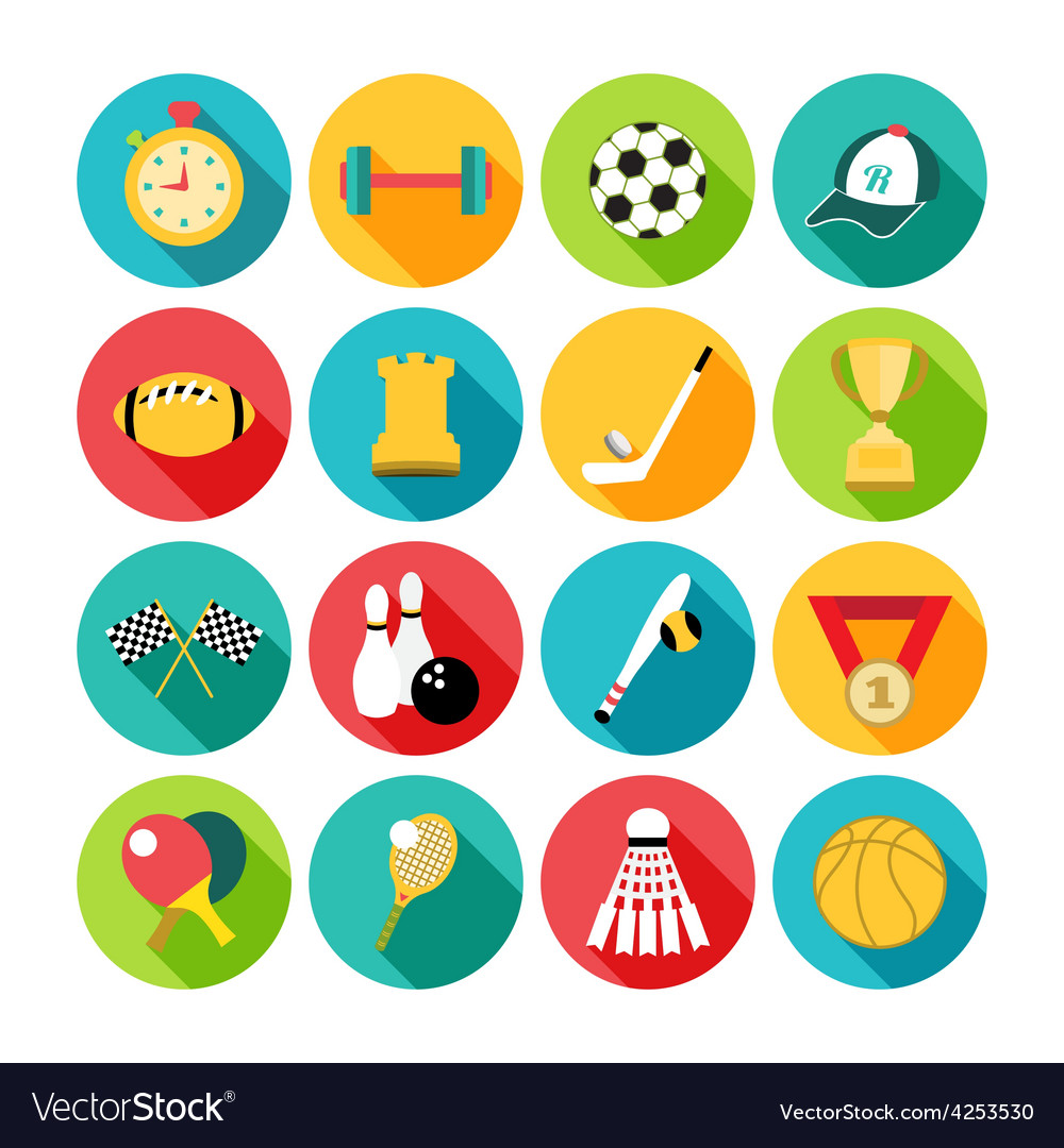 Set of sport icons in flat design with long vector | Price: 1 Credit (USD $1)