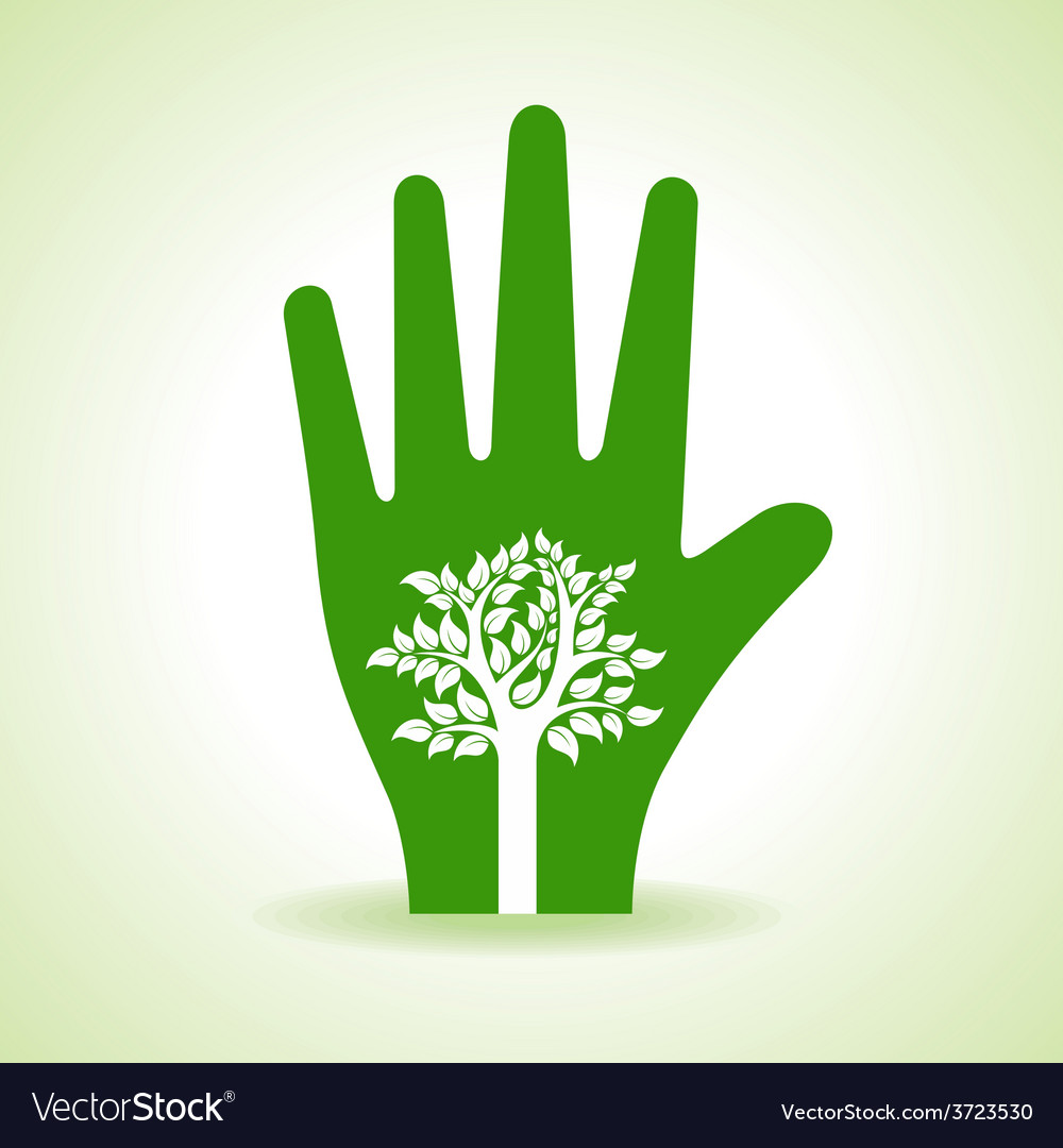 Tree inside the hand vector | Price: 1 Credit (USD $1)