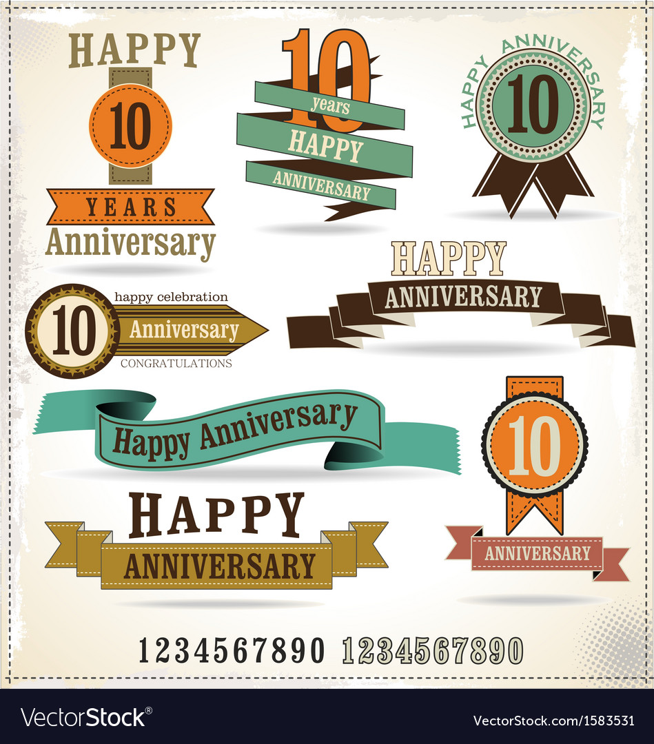 Collection of vintage anniversary labels vector | Price: 1 Credit (USD $1)