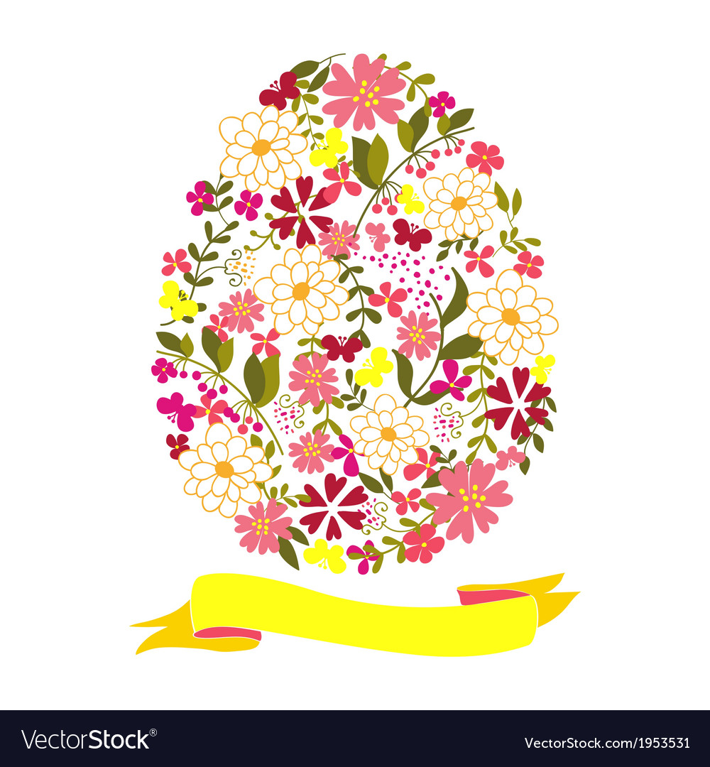 Easter egg from flowers with a tape vector | Price: 1 Credit (USD $1)