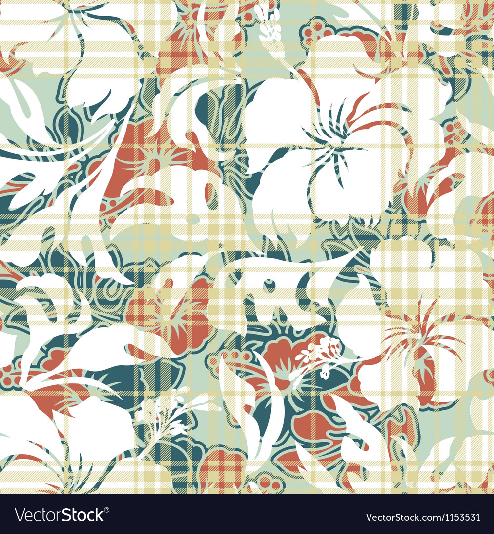 Hibiscus and tartan pattern vector | Price: 1 Credit (USD $1)