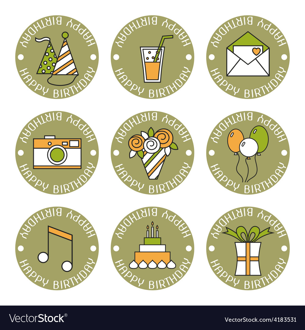 Holiday flat icons happy birthday vector | Price: 1 Credit (USD $1)