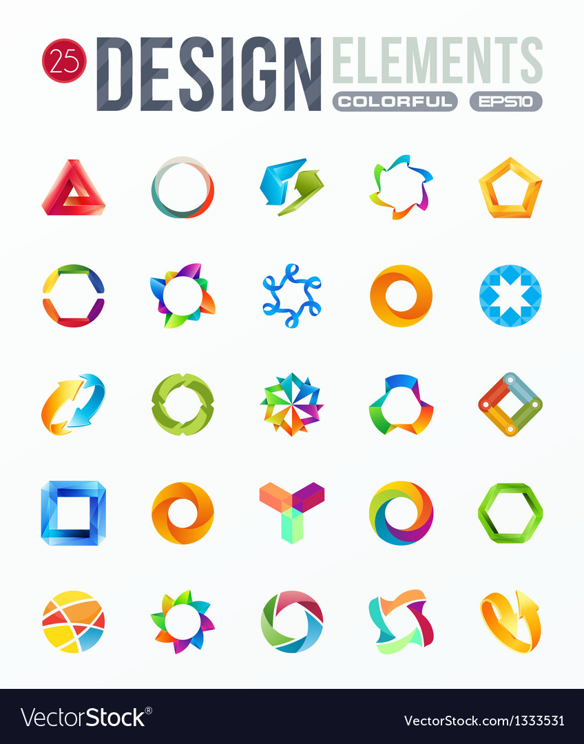 Icon set logo design elements vector | Price: 1 Credit (USD $1)