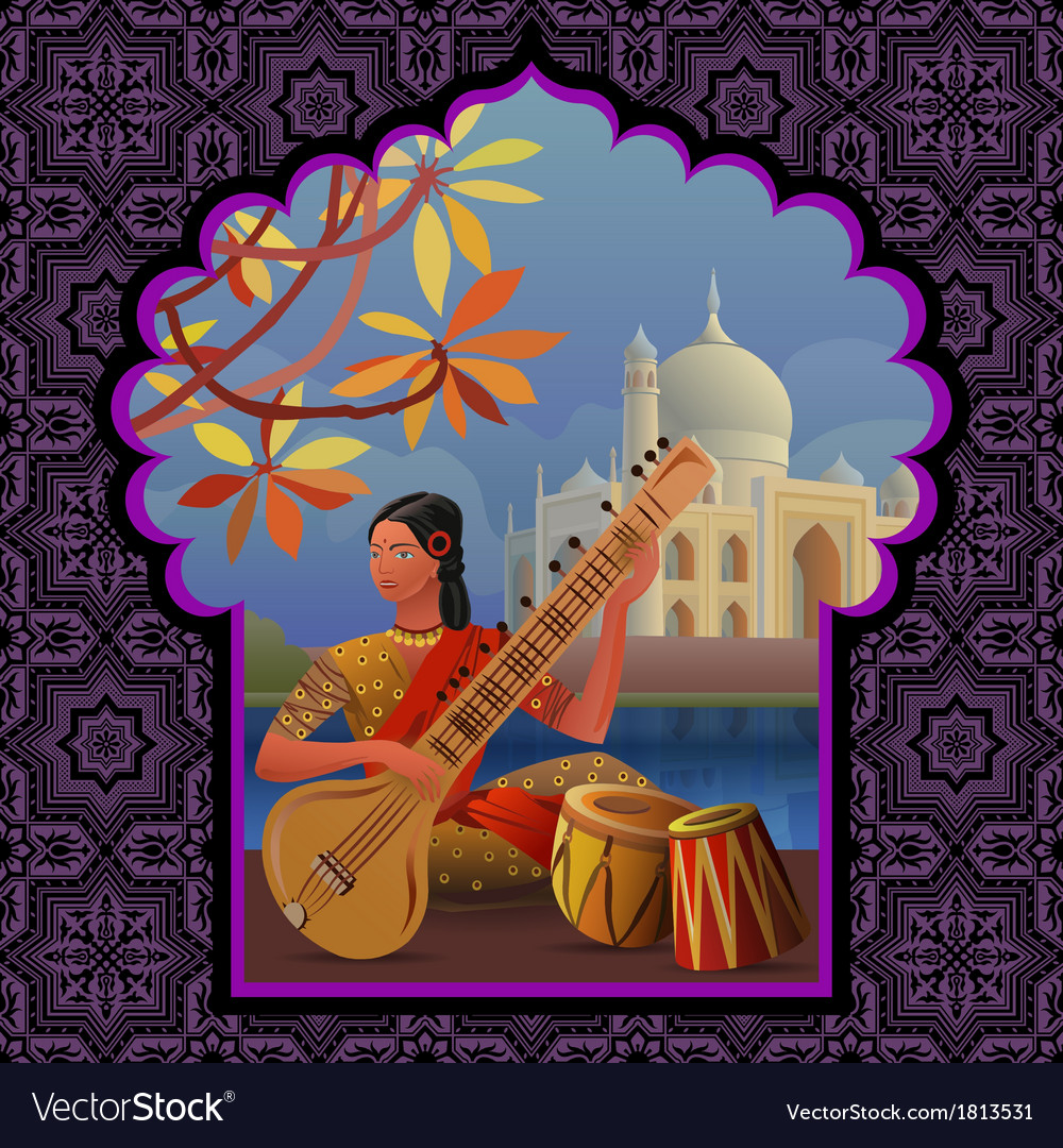 Indian girl playing on sitar near taj mahal vector | Price: 1 Credit (USD $1)