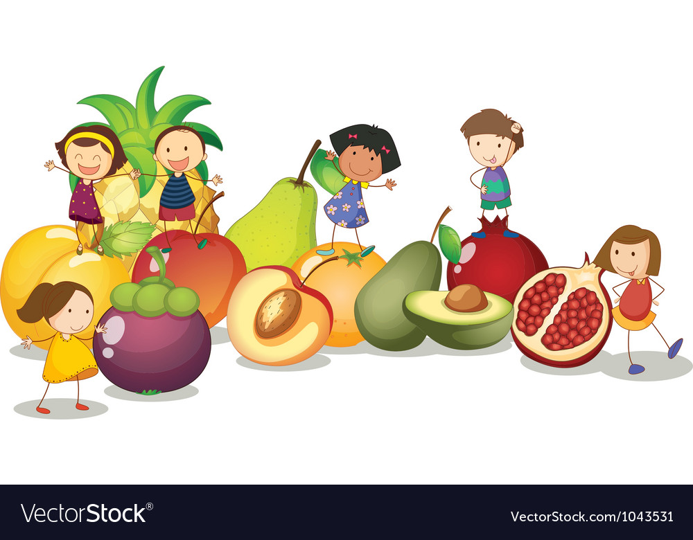 Kids fruits background vector | Price: 1 Credit (USD $1)